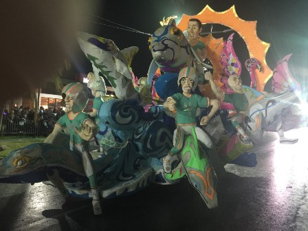 riding the dolphins all dolphin fans were thrilled by a large piece depicting dolphin players riding dolphins by the super star rockers junkanoo group