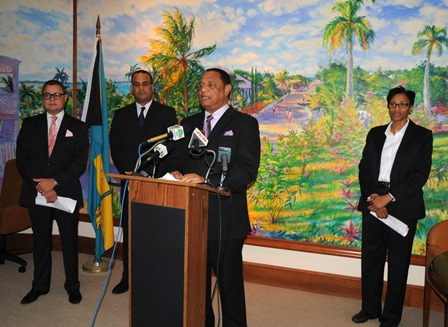Prime Minister, the Rt. Hon. Perry G. Christie announces the establishment of Resolve, a new Bahamian company, which will take control of commercial loans in default at the Bank of The Bahamas. The announcement was made during a press conference held at the Office of The Prime Minister on Friday, October 31. Also pictured, L-R: Mr. Paul McWeeney, Managing Director, Bank of The Bahamas; the Hon. Michael Halkitis, Minister of State for Finance; and Mrs. Wendy Craigg, Governor, Central Bank.  (BIS Photo/Peter L. Ramsay).